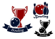 Bowling game icons with balls, ninepins and trophy Royalty Free Stock Photo