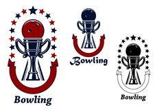 Bowling game icons with trophy cup Royalty Free Stock Photo