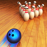Bowling game illustration and strike concept Royalty Free Stock Photos