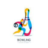 Bowling game  logo, icon or emblem design. Running human with bowling ball in hand and multicolor pin. Stock Photos