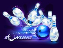 Bowling game over blue vector illustration