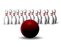 Bowling game with red ball, aim and targeting concept Royalty Free Stock Image