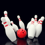 Bowling game with red ball crashing into the skittles. on black backgorund. 3d illustration Royalty Free Stock Image