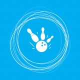 Bowling game round ball icon on a blue background with abstract circles around and place for your text. Illustration Royalty Free Stock Photos