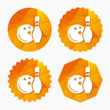 Bowling game sign icon. Ball with pin skittle. Stock Image