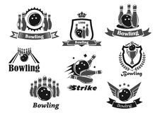 Bowling game sport club icon with ball, ninepins. Bowling game sport club icon set. Bowling ball and ninepins on lane, strike and champion trophy cup symbol with Stock Images