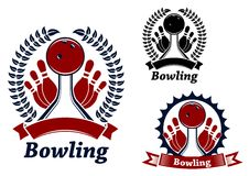 Bowling game sporting emblem or symbol Stock Images