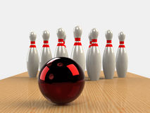 Bowling  Game Strike rot Royalty Free Stock Photography