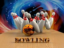 Bowling  Game Strike rot Stock Photo