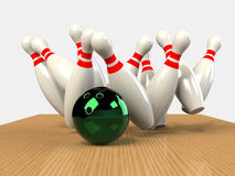 Bowling  Game Strike rot Royalty Free Stock Photo