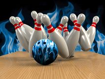 Bowling  Game Strike rot Stock Images