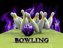 Bowling  Game Strike rot Royalty Free Stock Image