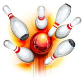 Bowling game (top view) vector illustration