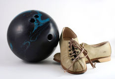 Bowling Gear of Yesteryear. Bowling ball and shoes from the Nineteen Sixties are still useful Stock Photography