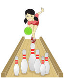 Bowling girl. A girl playing bowling looked very happy Royalty Free Stock Photo