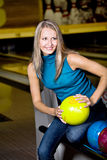Bowling girl Royalty Free Stock Photography