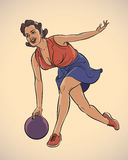 Bowling girl. Pretty girl playing bowling. Vintage styled image. Editable vector illustration Stock Image