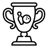 Bowling gold cup icon, outline style stock illustration