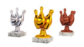 Bowling Gold Silver and Bronze Trophies with Marble Bases. On a white background royalty free illustration