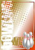Bowling golden poster background Stock Photo