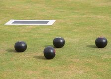 Bowling Green mit Holz Stockfotos