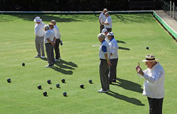 On the bowling green. Photo of senior bowling club on the green at tankerton bowling club Royalty Free Stock Photo