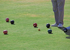 On the bowling green. Photo of senior bowling club on the green at tankerton bowling club Royalty Free Stock Image