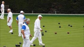 Bowling- Greenbowlingkugeln stock video footage