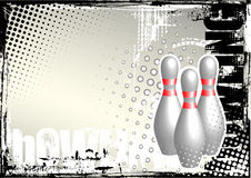 Bowling grunge poster background Royalty Free Stock Photo
