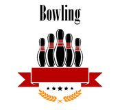 Bowling heraldic banner with ninepins. Ears and ribbon isolated on white Royalty Free Stock Image