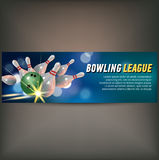 Bowling horizontal banner with bowling champ club and leagues symbols realistic isolated. Vector illustration Royalty Free Stock Photo