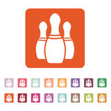 The bowling icon. Game symbol. Flat Stock Image