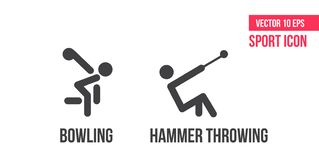 Bowling icon and hammer throwing icon, logo. Set of sport vector line icons. athlete pictogram, icon pack. Bowling icon and hammer throwing icon, logo. Set of royalty free illustration