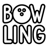 Bowling icon, outline style vector illustration