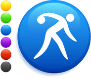 Bowling icon on round internet button Stock Images