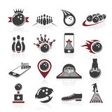 Bowling icon set Royalty Free Stock Photography
