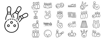 Bowling icon set, outline style. Bowling icon set. Outline set of bowling vector icons for web design isolated on white background stock illustration