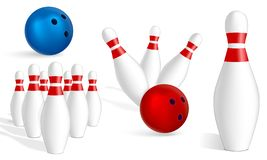 Bowling icon set, realistic style. Bowling icon set. Realistic set of bowling vector icons for web design isolated on white background vector illustration