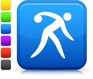 Bowling icon on square internet button Royalty Free Stock Images