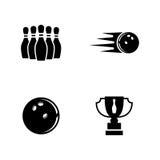 bowling Iconos relacionados simples del vector Imágenes de archivo libres de regalías