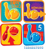 Bowling Icons Royalty Free Stock Photos