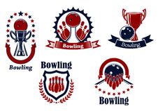 Bowling icons with balls, ninepins and trophy Royalty Free Stock Photography