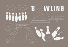 Bowling icons set Royalty Free Stock Photography