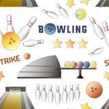 Bowling icons set pattern Royalty Free Stock Photos