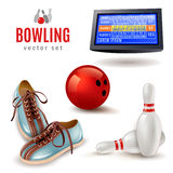 Bowling Icons Set. Bowling realistic icons set with shoes ball and pins  vector illustration Stock Photos
