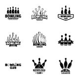 Bowling icons set, simple style. Bowling icons set. Simple set of 9 bowling vector icons for web isolated on white background Royalty Free Stock Image