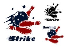 Bowling icons and symbols. With the text - Strike - as the bowl hits the pins with speed and motion trails and one with the text - Bowling - and no motion trail Royalty Free Stock Photography