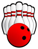 Bowling illustration. Illustration of a bowling ball and seven pins Stock Photos