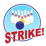 Bowling illustration. With a strike Royalty Free Stock Photography