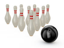 Bowling. Illustration of bowling skittlesand ball isolated on white background Stock Images